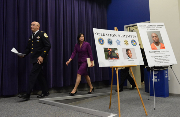 Chicago Police Department interim superintendent John Escalante and Cook County state's attorney Anita Alvarez arrive to announce charges in the murder of nine-year-old Tyshawn Lee. - BRIAN JACKSON/SUN-TIMES