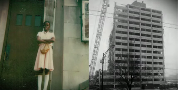 Foxx, pictured in this campaign video still as a young adult, lived with her mother and brother in the Cabrini Green public housing complex until she was eight years old. - COURTESY OF KIM FOXX