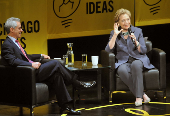 Rahm Emanuel and Hillary Clinton in conversation at Chicago Ideas Week, 2014 - AL PODGORSKI/SUN-TIMES