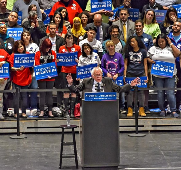 Nearly 4,000 Chicagoans waited until past 11 PM to see Bernie Sanders deliver a stump speech punctuated with jabs at Rahm Emanuel. - PAUL BOUCHER
