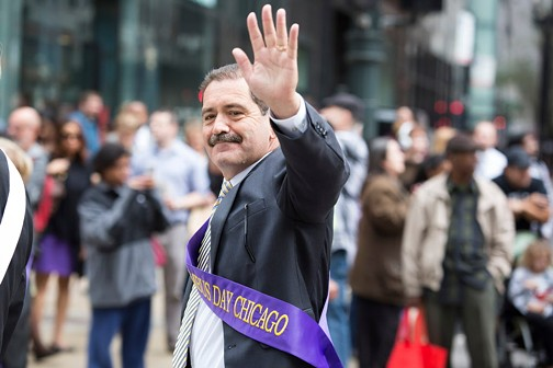 Jesus Garcia, marching in the Columbus Day Parade last October. The 2015 mayoral candidate campaigned hard for Bernie Sanders. - JAMES FOSTER / FOR SUN-TIMES MEDIA