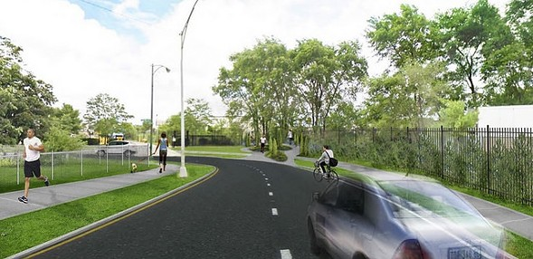 A CDOT rendering of the western trailhead of the Paseo (center) at 32nd and Central Park. - CHICAGO DEPARTMENT OF TRANSPORTATION