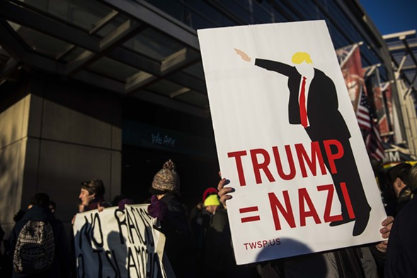 An protestor demonstrates against Donald Trump outside the American Israel Public Affairs Committee (AIPAC) conference in Washington, D.C. Monday. - GABRIELLA DEMCZUK/GETTY IMAGES