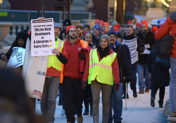 Chicago teachers protest in late February. The Chicago Teachers Union is staging a planned one-day strike Friday. - BRIAN JACKSON/ FOR THE SUN-TIMES