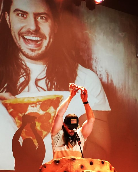 Andrew W.K. delivers a pizza-focused keynote address at the Pizza Summit. - RYAN SMITH