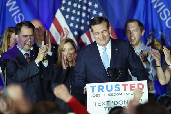 Presidential candidate Ted Cruz in Milwaukee Tuesday night, following his win in the Wisconsin Republican primary. - SCOTT OLSON/GETTY IMAGES