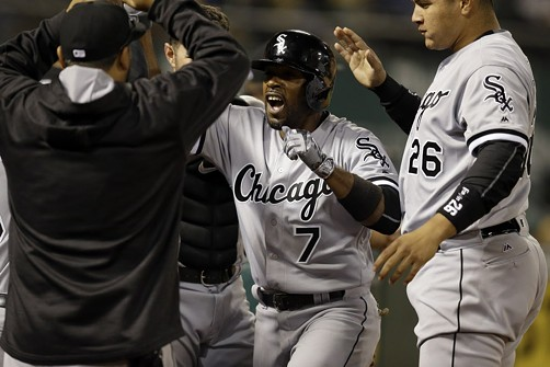 New White Sox shortstop Jimmy Rollins hit the game-winning homer in Oakland in the ninth. - AP PHOTO/BEN MARGOT