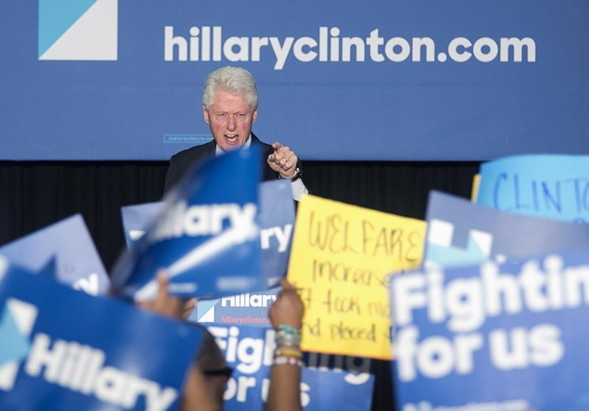 Bill Clinton spars with protesters at a rally last week in Philadelphia. - ED HILLE/THE PHILADELPHIA INQUIRER VIA AP