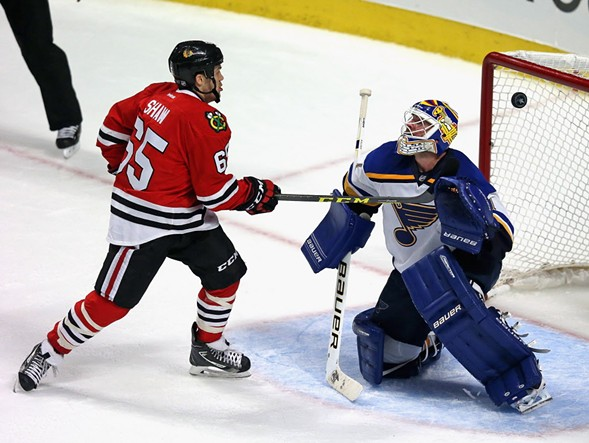 Andrew Shaw, left, during Tuesday night's game against the Saint Louis Blues - JONATHAN DANIEL/GETTY IMAGES