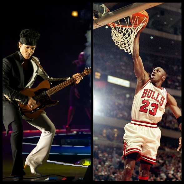 Prince and Michael Jordan—both experts in the art of the jam - BOBBY TALAMINE/JONATHAN DANIEL/ALLSPORT/GETTY IMAGES