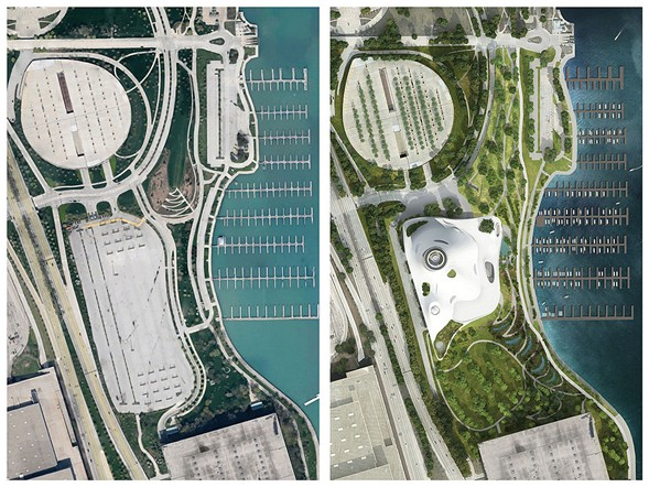 Before-and-after aerial views of the original south lot proposal - LUCAS MUSEUM OF NARRATIVE ARTS