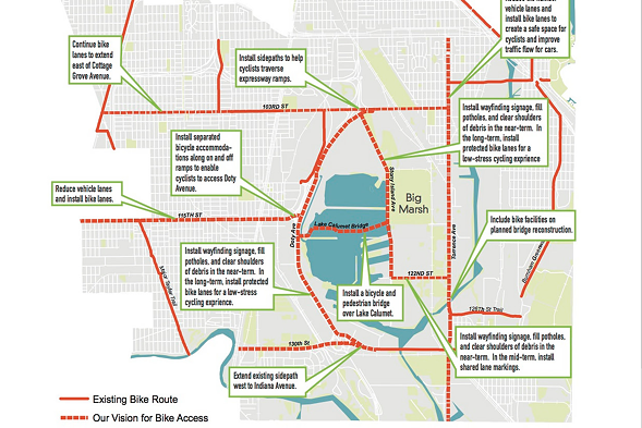 A map of proposed improvements to cycling infrastructure around Big Marsh. - ACTIVE TRANSPORTATION ALLIANCE