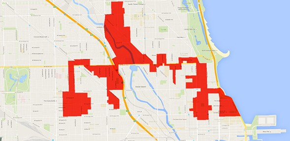 Redistricting in 2011 left the Second Ward looking like a lobster. - SUE KWONG/GOOGLE MAPS