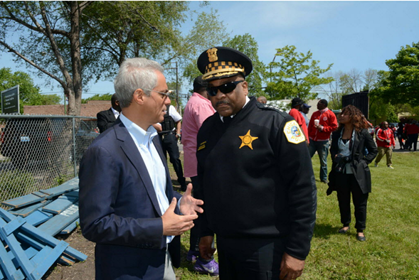 Mayor Rahm Emanuel and CPD superintendent Eddie Johnson spoke at an anti-violence event on 79th Street Saturday that drew thousands of people who have lost loved ones or were affected by gun violence. - BRIAN JACKSON/FOR THE SUN-TIMES