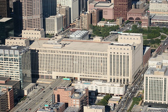 Developers plan to turn the Old Main Post Office into a mixed-use complex with a three-acre rooftop park. - LEE HOGAN/SUN-TIMES MEDIA