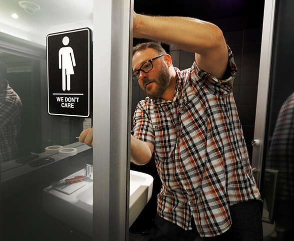 A gender-neutral bathroom in Durham, North Carolina. - SARA D. DAVIS/GETTY IMAGES