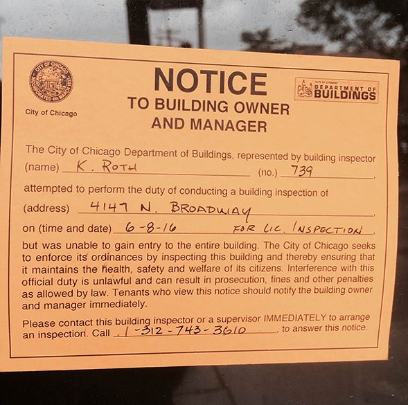 A notice from the city building inspector - CHRISTOPHER PIATT