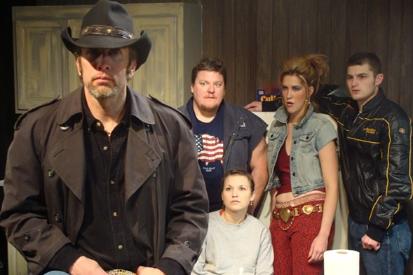 The cast of Killer Joe. From left: Darrell Cox, Howie Johnson, Claire Wellin, Somer Benson, and Kevin Bigley. - SUN-TIMES PRINT ARCHIVE