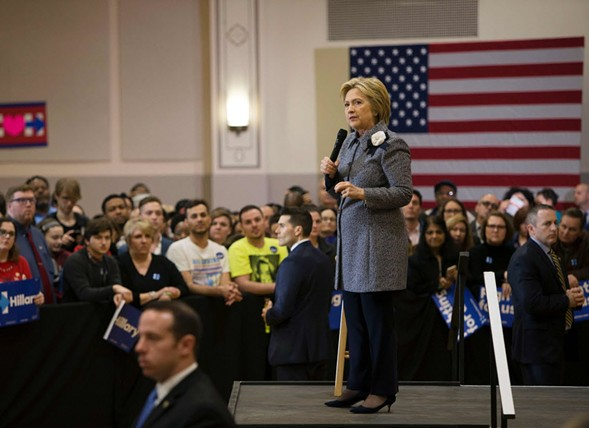 Hillary Clinton speaks at a rally in Chicago on March 14. - TASOS KATOPODIS, AFP