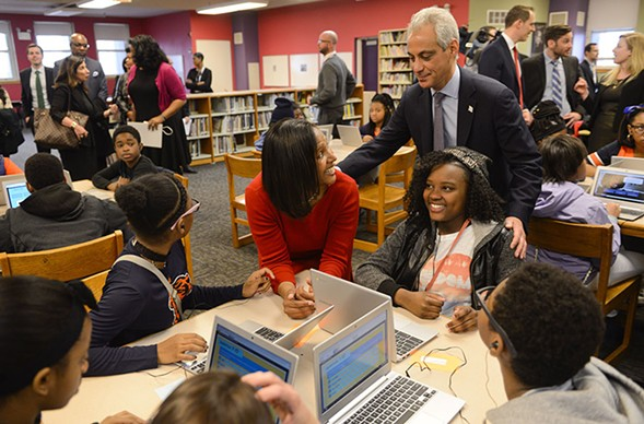 Mayor Emanuel at south-side CPS school Ariel Community Academy in April 2015. - MATT MARTON/AP