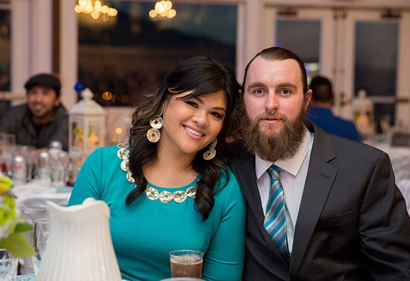Blaine Klingenberg, right, and his girlfriend, Maja Perez, at her brother's wedding last March - BROOKE GUITON PHOTOGRAPHY
