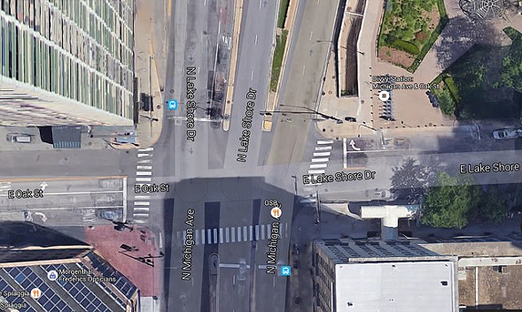 An aerial view of the intersection of Michigan Avenue and Oak Street - GOOGLE MAPS