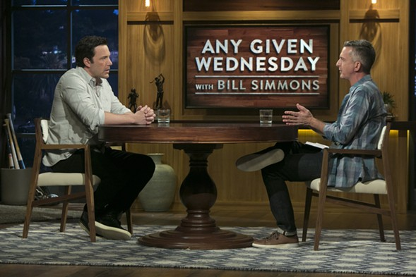 Ben Affleck almost went full Tom-Cruise-on-Oprah during his appearance on HBO's Any Given Wednesday With Bill Simmons. - JORDAN ALTHAUS/HBO