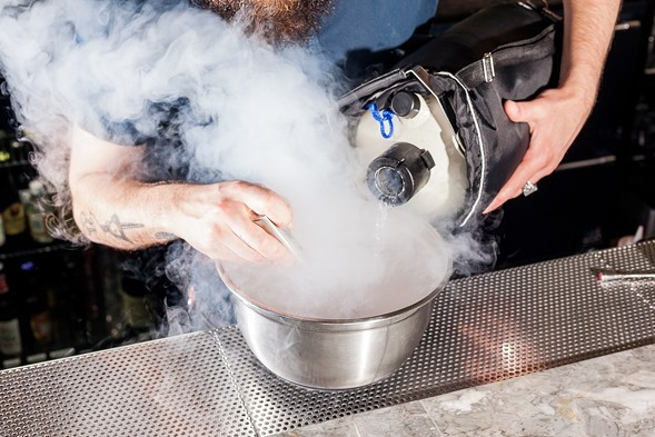 """In the """"Fraise d'Amor"""" cocktail, liquid nitrogen freezes a mixture of cognac and strawberry puree. - NICK MURWAY"""