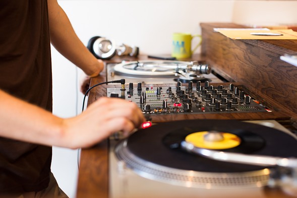 The shop's shiny new turntables in action - SUNSHINE TUCKER