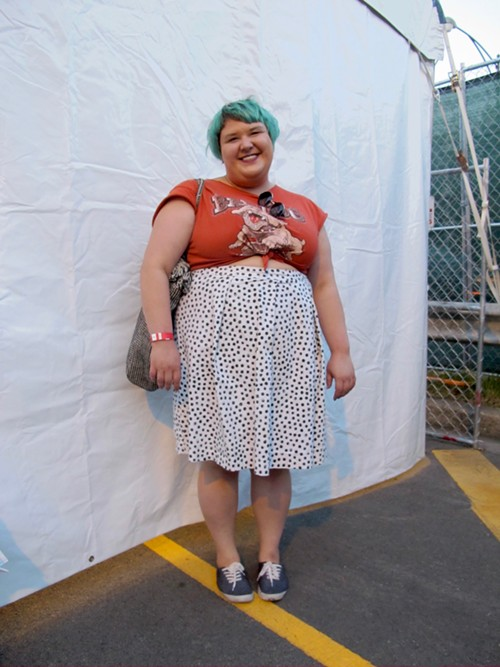 Abigail's cool tee and circle skirt combo never fails.