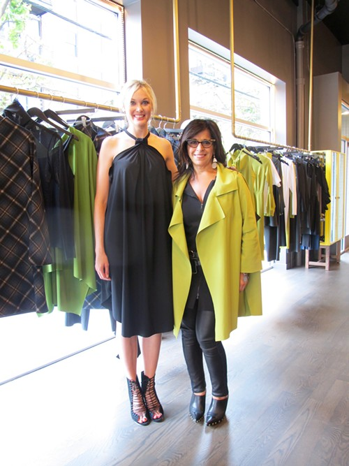 Maria Pinto (right) stands next to one of her models, who's wearing a prefall halter-neck trapeze dress. - ISA GIALLORENZO