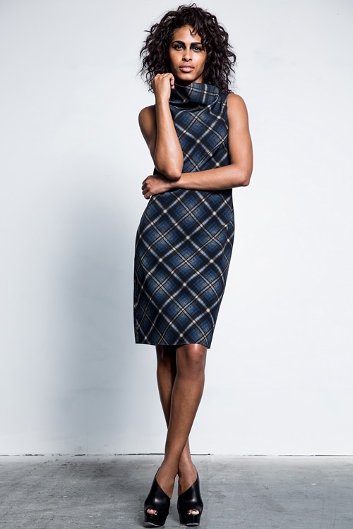 Fall-collection dress featuring M2057's first exclusive print. - PHOTO COURTESY OF M2057 BY MARIA PINTO