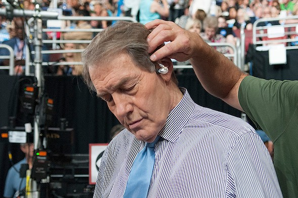 Journalist Charlie Rose preparing for broadcast