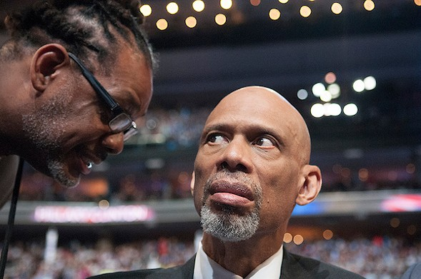 Kareem Abdul-Jabar was one of the speakers on the last night of the convention