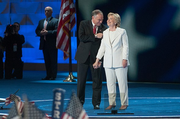 Sen. Tim Kaine and Hillary Clinton