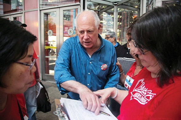 Former governor Pat Quinn recruiting voters to sign his petition in June. - ASHLEE REZIN/SUN-TIMES MEDIA