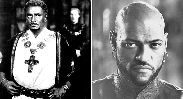 Laurence Olivier (l) and Laurence Fishburne as Othello. - SUN-TIMES ARCHIVE