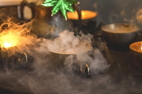 Nandini Khaund's spooky cocktails at the Reader's 2015 fall Cocktail Challenge event - KATIE HOVLAND