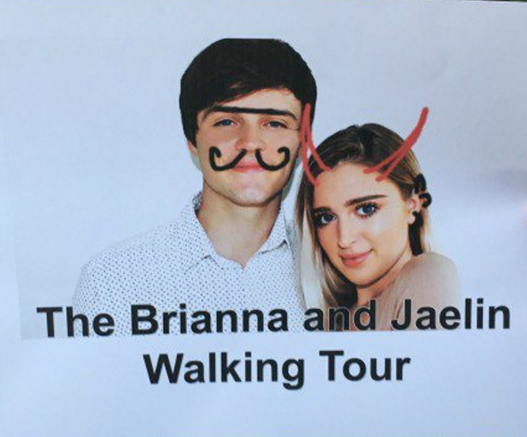 A sign from the Brianna and Jaelin Walking Tour in Edgewater earlier this month.