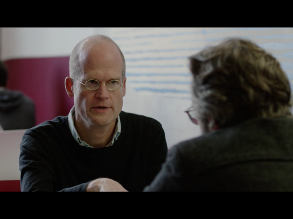 Cartoonist Chris Ware plays a journalist interviewing Marc Maron's character.