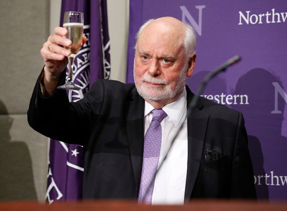 Sir Fraser Stoddart, Northwestern professor, toasts his Nobel prize in chemistry - AP PHOTO/NAM Y. HUH
