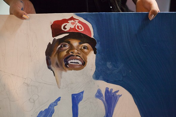 Outside the Board of Elections building: Chance the Rapper fan art in progress - DANIELLE A. SCRUGGS