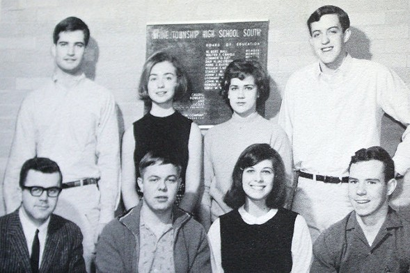"""Maine South High School """"It's Academic"""" team, 1965. Hillary Rodham is in the back row, second from left. - MAINE TOWNSHIP HIGH SCHOOL DISTRICT 207"""