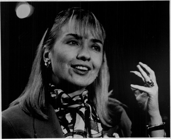Clinton in 1991, during her husband's first presidential campaign - WASHINGTON POST
