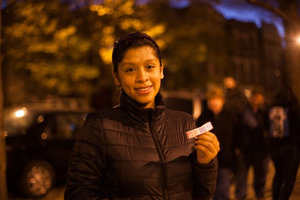 "Gabriela Felipe in Pilsen: ""It feels good to vote—this is my first time."" - DANIELLE A. SCRUGGS"