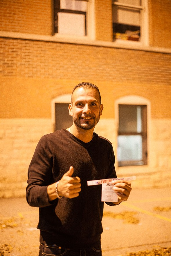 "Ricardo Diaz of Pilsen said he felt ""mixed emotions—happy and prideful that I am able to [vote], but it feels kind of dirty right now. I feel like I chose the lesser of two evils, but it was still something I felt obligated to be a part of."" - DANIELLE A. SCRUGGS"