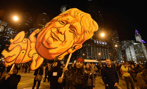 Protesters in front of Trump Tower Wednesday night - PAUL BEATY/GETTY IMAGES