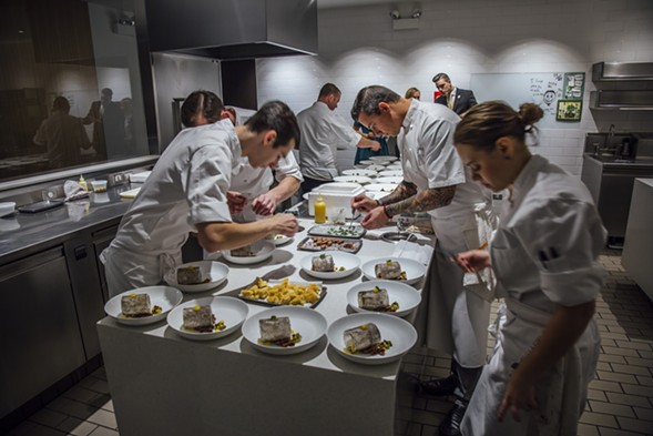 The kitchen staff remained laser-focused throughout the seven-course meal. - GLENN MCMANUS