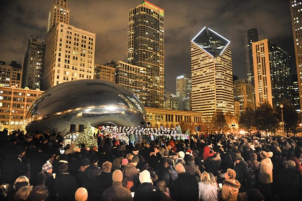 A rotating lineup of choirs carol at Cloud Gate starting Fri 11/25. - COURTESY CITY OF CHICAGO