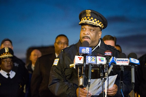 Chicago Police Department superintendent Eddie Johnson speaking to reporters in November - SANTIAGO COVARRUBIAS/SUN-TIMES